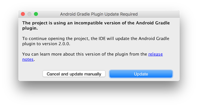 Prompt to update your gradle version in your project